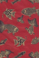 "Lokta Fish on Red,  22"" x 30"""