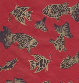 "Nepal Lokta Fish on Red,  22"" x 30"""