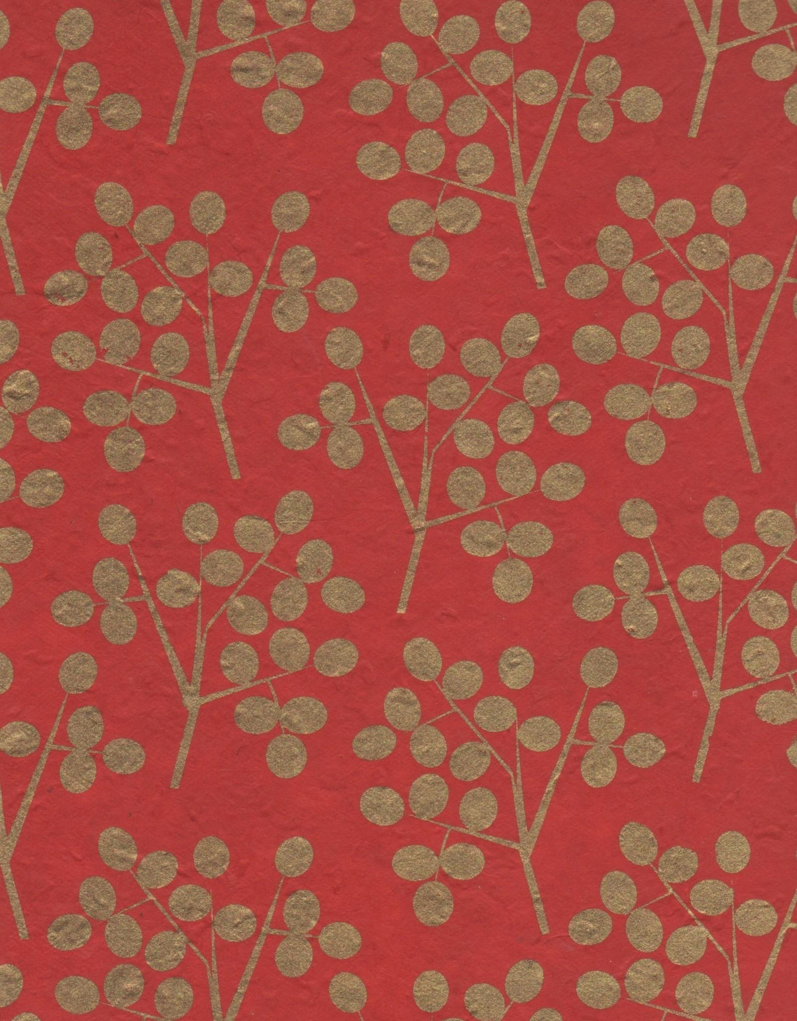 """Lokta Gold Olive Branch on Red 20"""" x 30"""""""