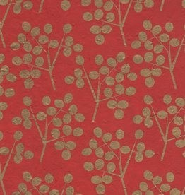 "Lokta Gold Olive Branch on Red 20"" x 30"""