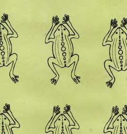 "Nepal Lokta Frogs on Lime Green 20"" x 30"""