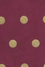 "Lokta Polka Dot Burgundy with Gold Dots, 20"" x 30"""