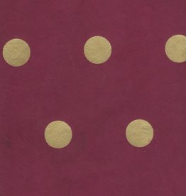 "Lokta Polka Dot Burgundy with Gold Dots, 20"" x 30"""
