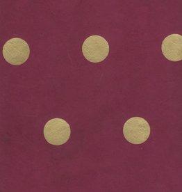 "Nepal Lokta Polka Dot Burgundy with Gold Dots, 20"" x 30"""
