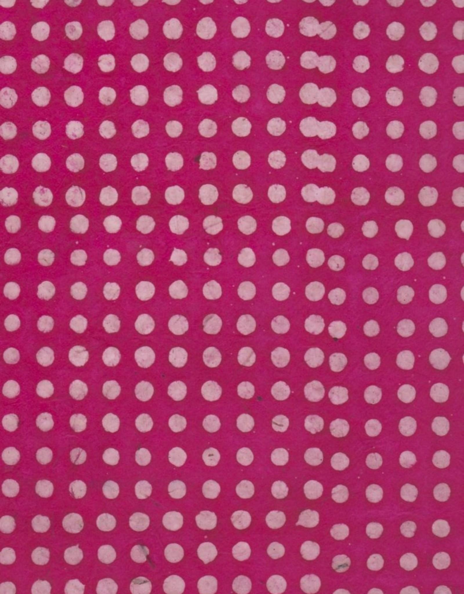 """Lokta Polka Dots Batik Magenta, 20"""" x 30"""""""