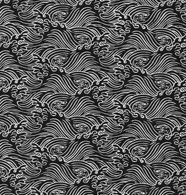 "Lokta Rolling Tide White on Black, 20"" x 30"""