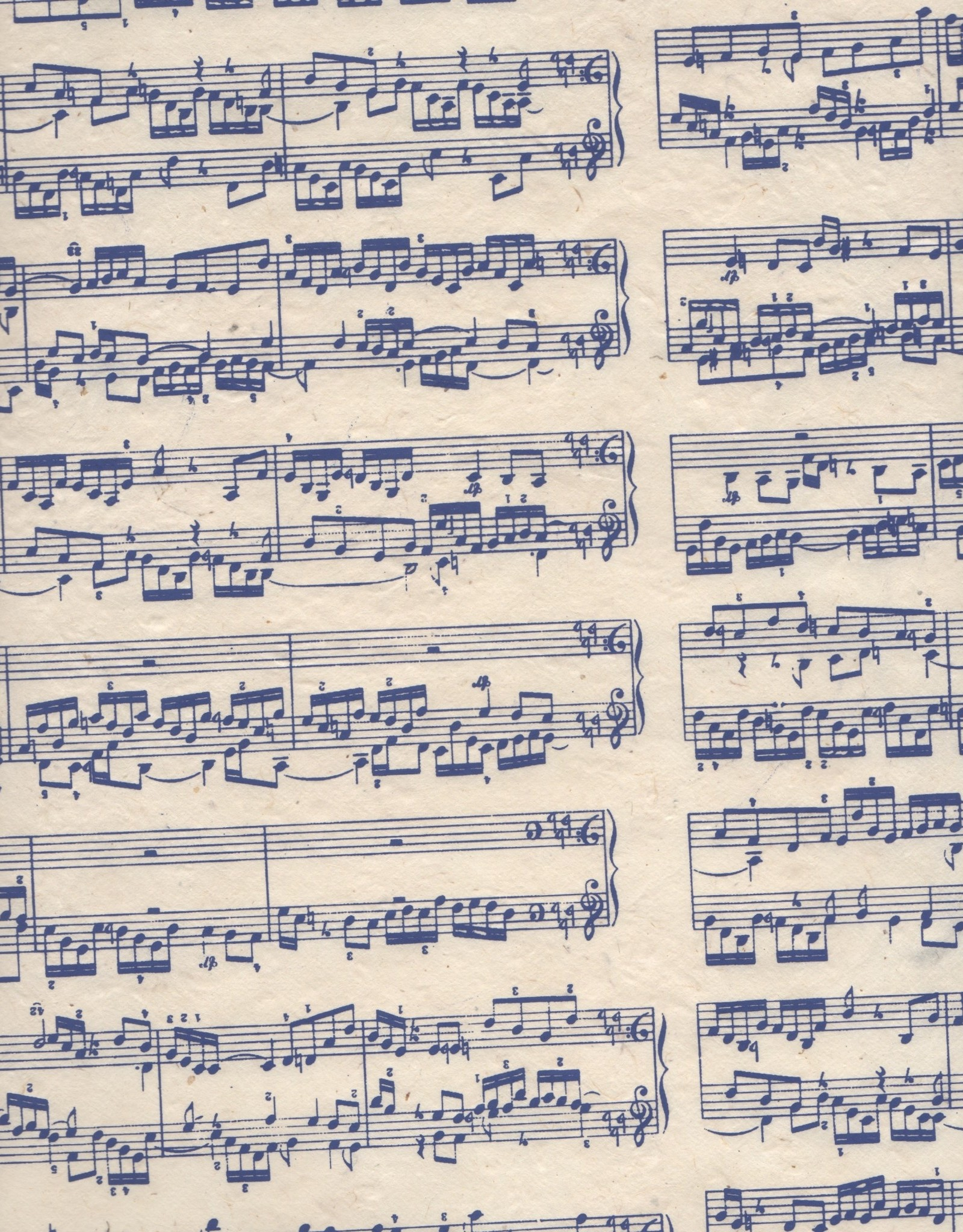 "Lokta Sheet Music, Blue on Natural, 20"" x 30"""