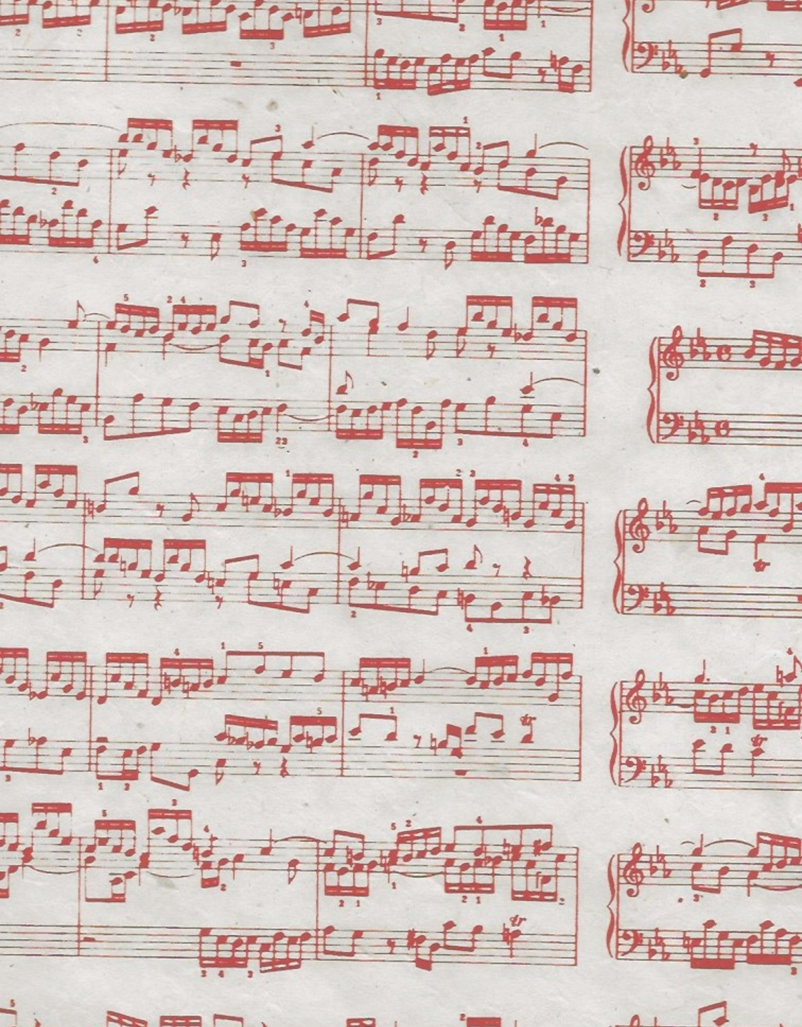 "Lokta Sheet Music, Red on Natural, 20"" x 30"""