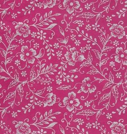 """Nepal Lokta Silver Flowers on Pink, 20"""" x 30"""" Limited Availability"""