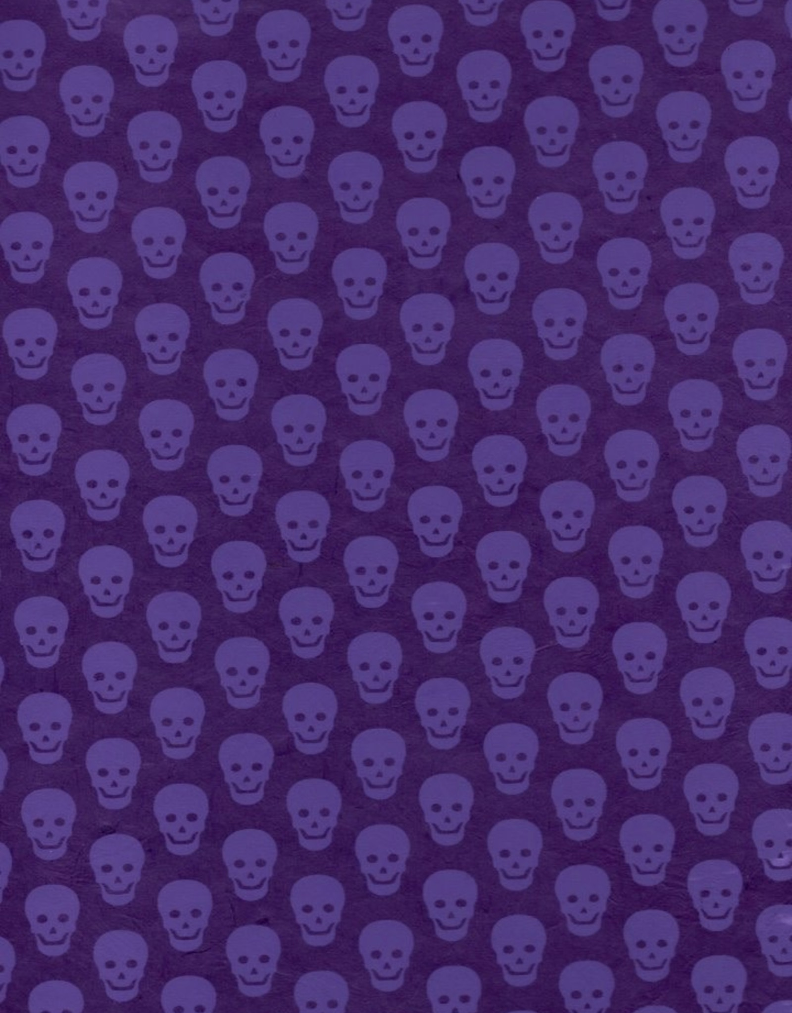 "Lokta Skulls, Purple on Purple, 20"" x 30"""