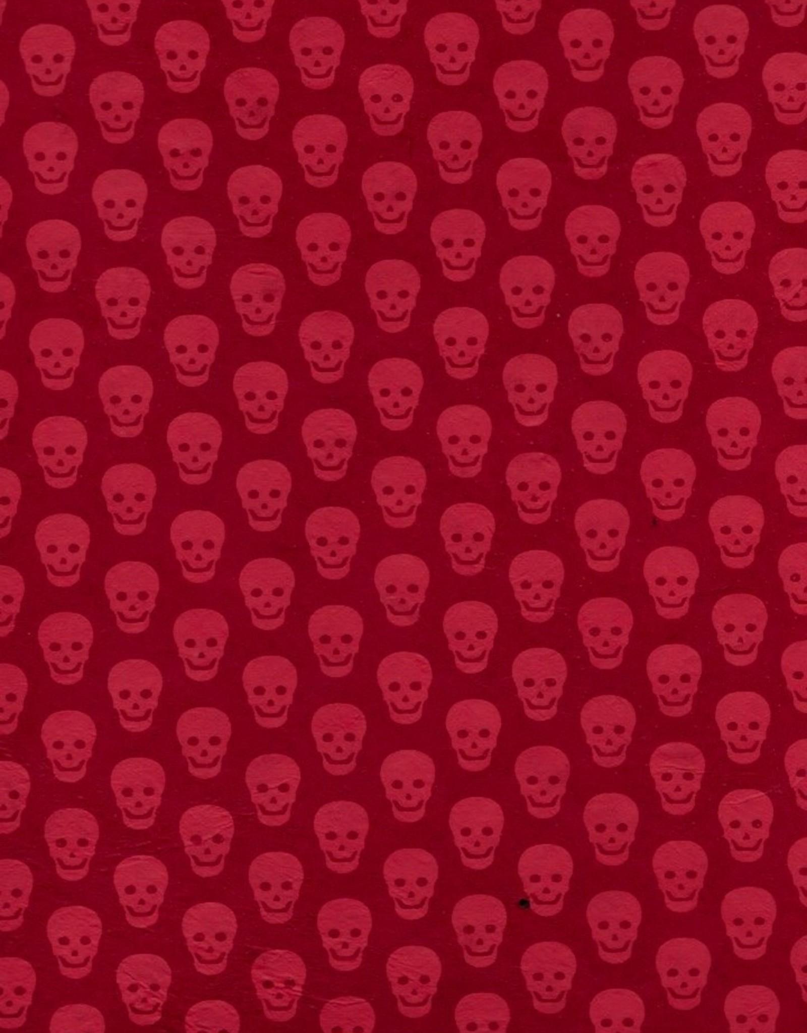 "Lokta Skulls, Red on Red, 20"" x 30"""