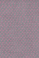 "Lokta Sweetheart, Pink on Grey, 20"" x 30"""