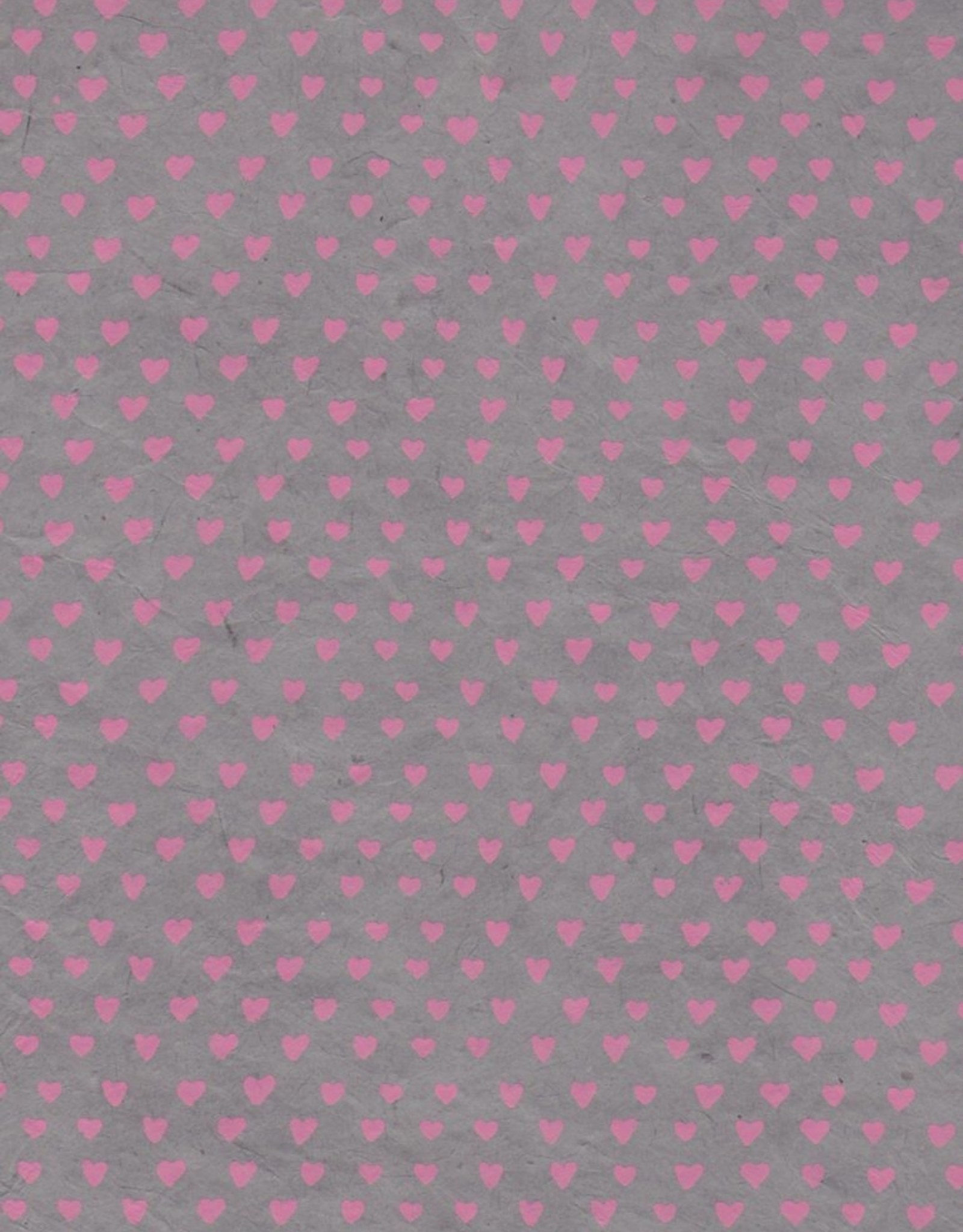 "Lokta Sweetheart, Pink on Gray, 20"" x 30"""