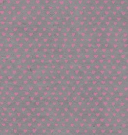 "Lokta Sweetheart, Pink on Grey, 20"" x 30"""