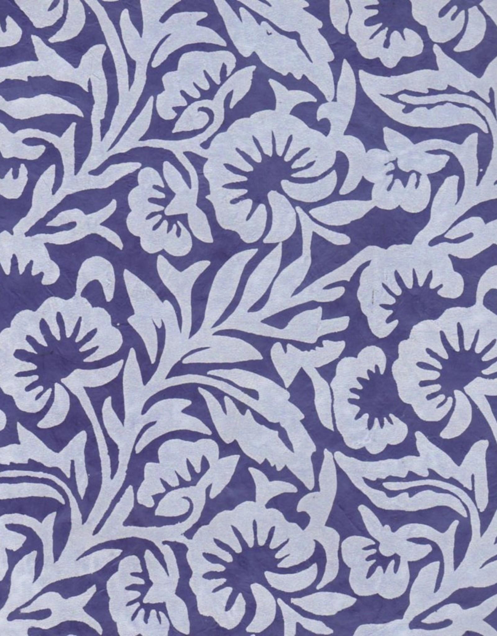 "Lokta White Floral on Blue, 20"" x 30"""