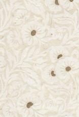 "Lokta White Floral on Natural, 20"" x 30"""