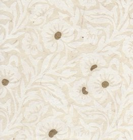 "Nepal Lokta White Floral on Natural, 20"" x 30"""