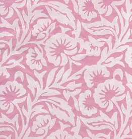"Lokta White Floral on Pink, 20"" x 30"""