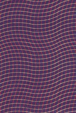"Wavy Grid, Red, Gold on Purple, 22"" x 30"""