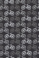 "Bicycles Silver on Black, 22"" x 30"""
