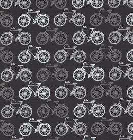 "India Bicycles Silver on Black, 22"" x 30"""