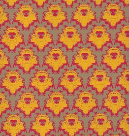 "Castle Wallpaper, Yellow, Red on Grey Brown, 22"" x 30"""