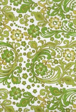 "Seventies Paisley Wallpaper, Olive, Green, Mustard on White, 22"" x 30"""