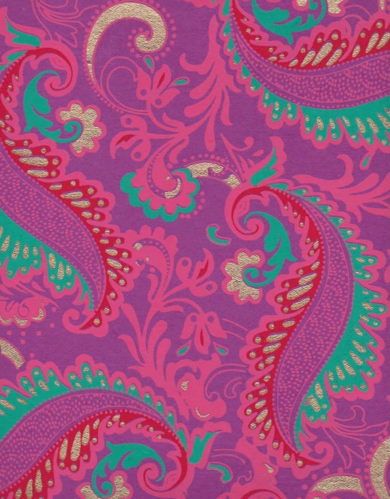 "Sixties Psychedelic Paisley Flower, Turquoise, Pink, Red, Gold on Purple, 22"" x 30"""