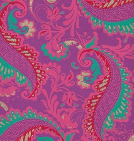 """India Sixties Psychedelic Paisley Flower, Turquoise, Pink, Red, Gold on Purple, 22"""" x 30"""""""