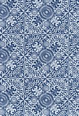 """Ornate Mosaic Pattern Blue and White, 22"""" x 30"""""""