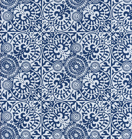 "Ornate Mosaic Pattern Blue and White, 22"" x 30"""