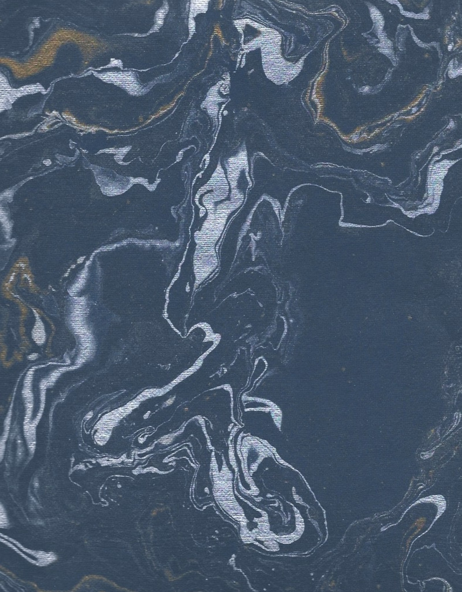"Indian Marble: Blue with Gold and Silver, Turkish Design, 22"" x 30"""