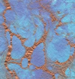"""Thailand Momi Marbled Turquoise with Purple, Copper, 25"""" x 36"""", 30 gram"""