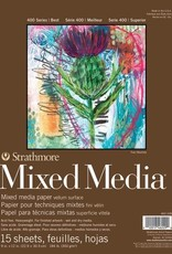 """Strathmore Mixed Media Pad, 400, 9"""" x 12"""", 15 Sheets, 184#, 300gsm"""