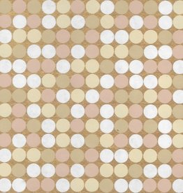 "India Hollywood Lights, White, Beige, Cream on Gold, 22"" x 30"""