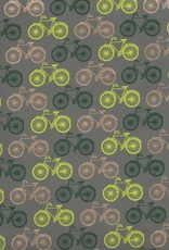 "Bicycles Yellow, Green, Gold on Grey, 22"" x 30"""