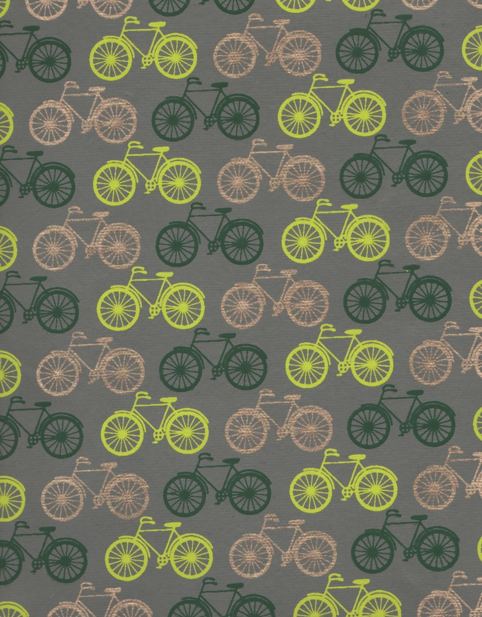 """Bicycles Yellow, Green, Gold on Grey, 22"""" x 30"""""""