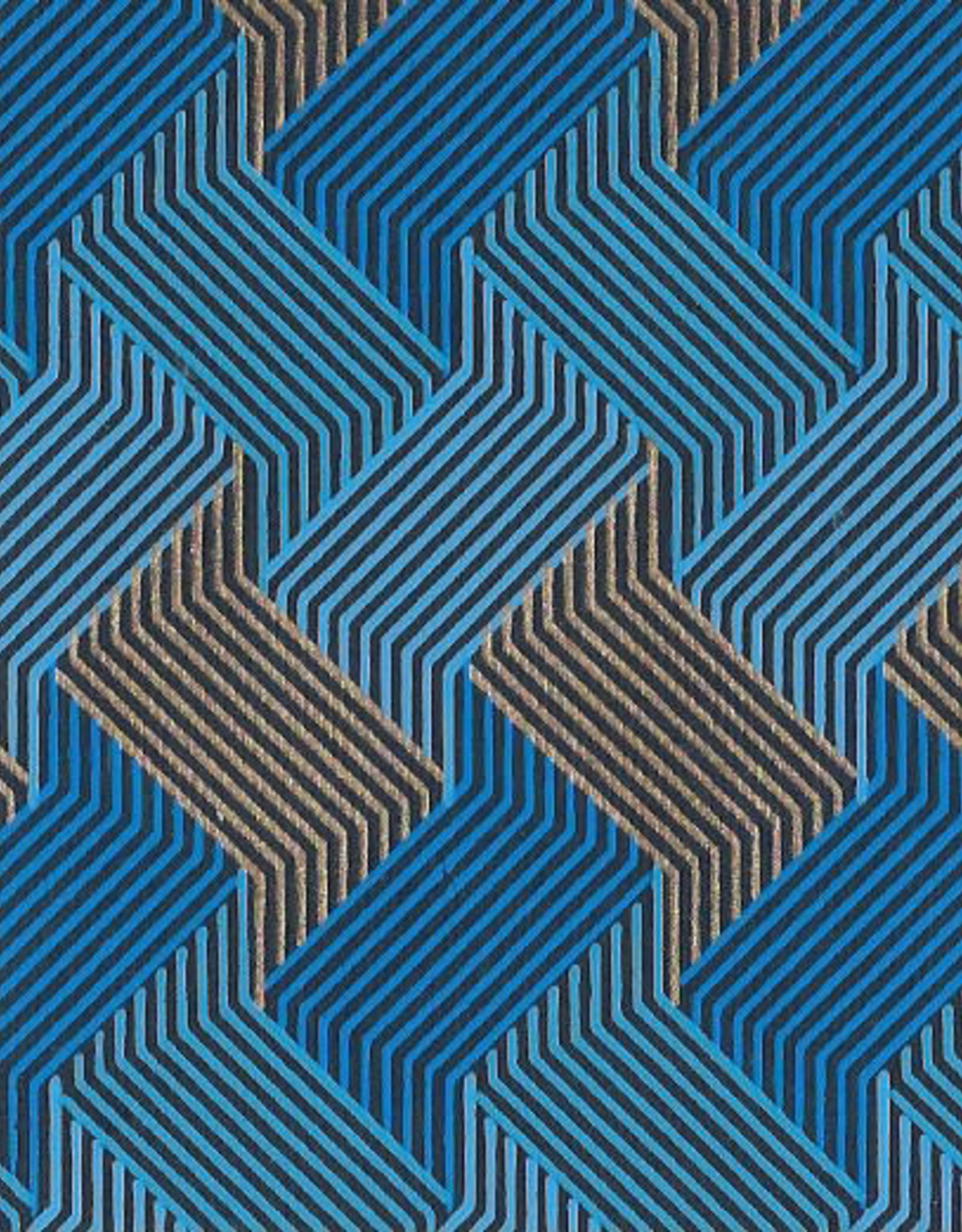 """Circuit Grid Boxes, Blue, Gold on Navy 22"""" x 30"""""""
