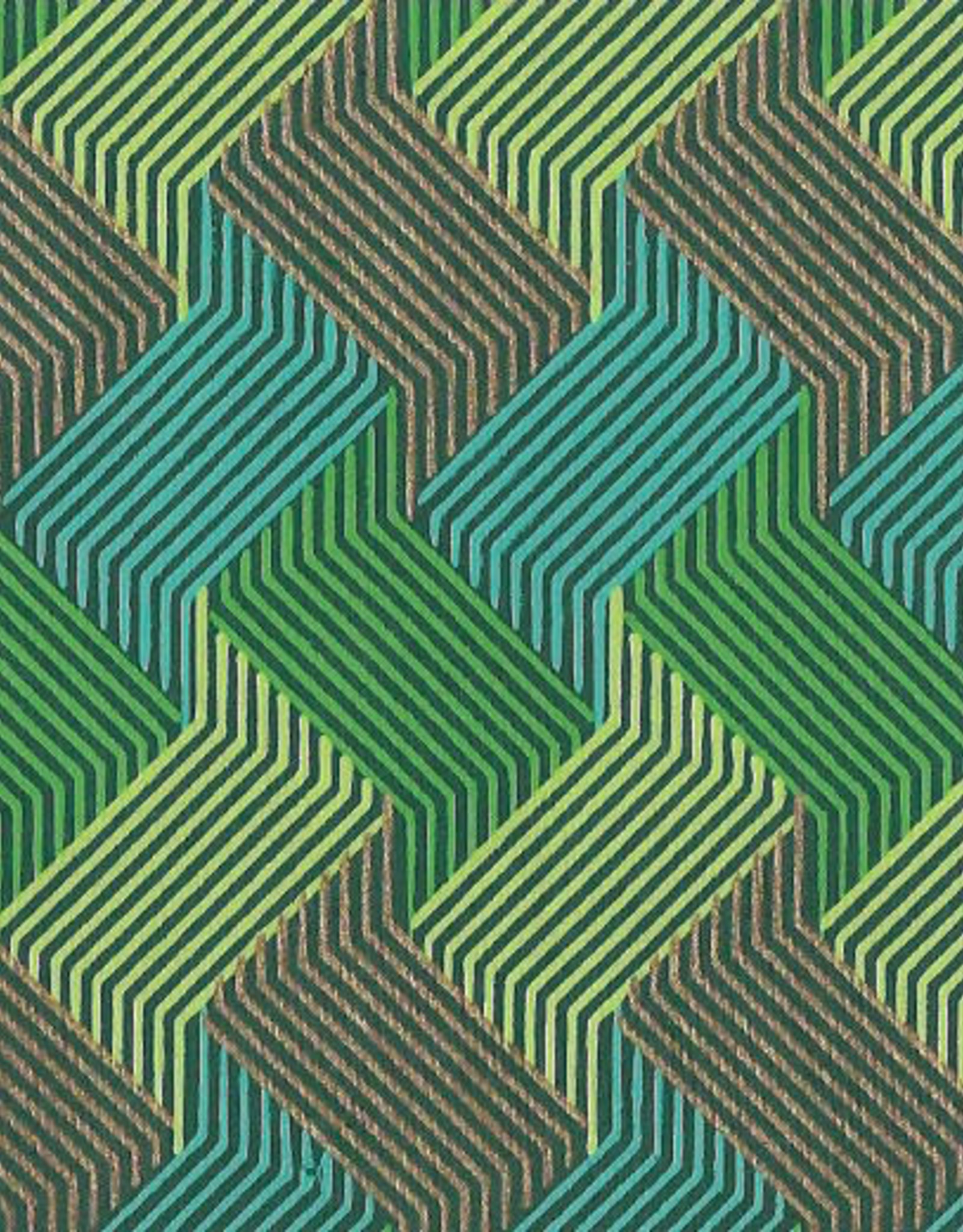 """Circuit Grid Boxes, Green, Blue, Gold on Green 22"""" x 30"""""""