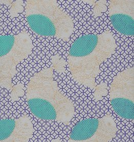 """India Flower Chicks Moroccan Background, Blue, Purple, Cream, Gold Lines on Natural,  22"""" x 30"""""""