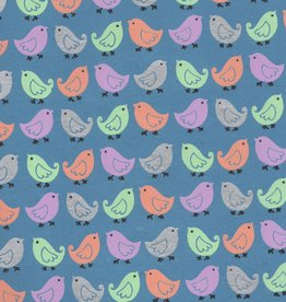 "India Pastel Birds on Blue, 22"" x 30"""