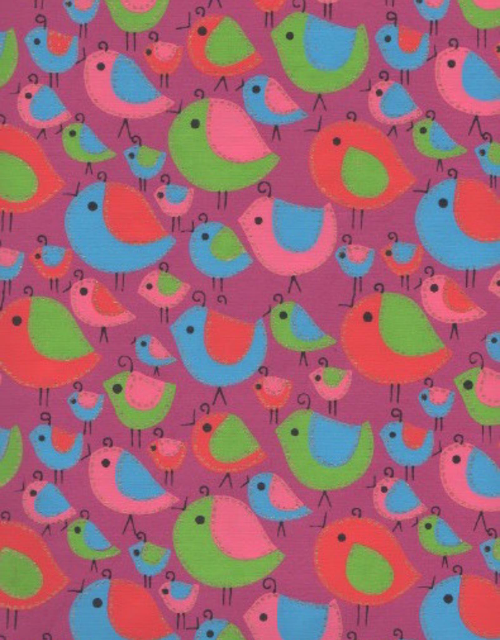 "Sewn Birds Red, Blue, Pink on Purple, 22"" x 30"""