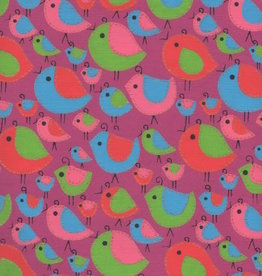 """India Sewn Birds Red, Blue, Pink on Purple, 22"""" x 30"""""""