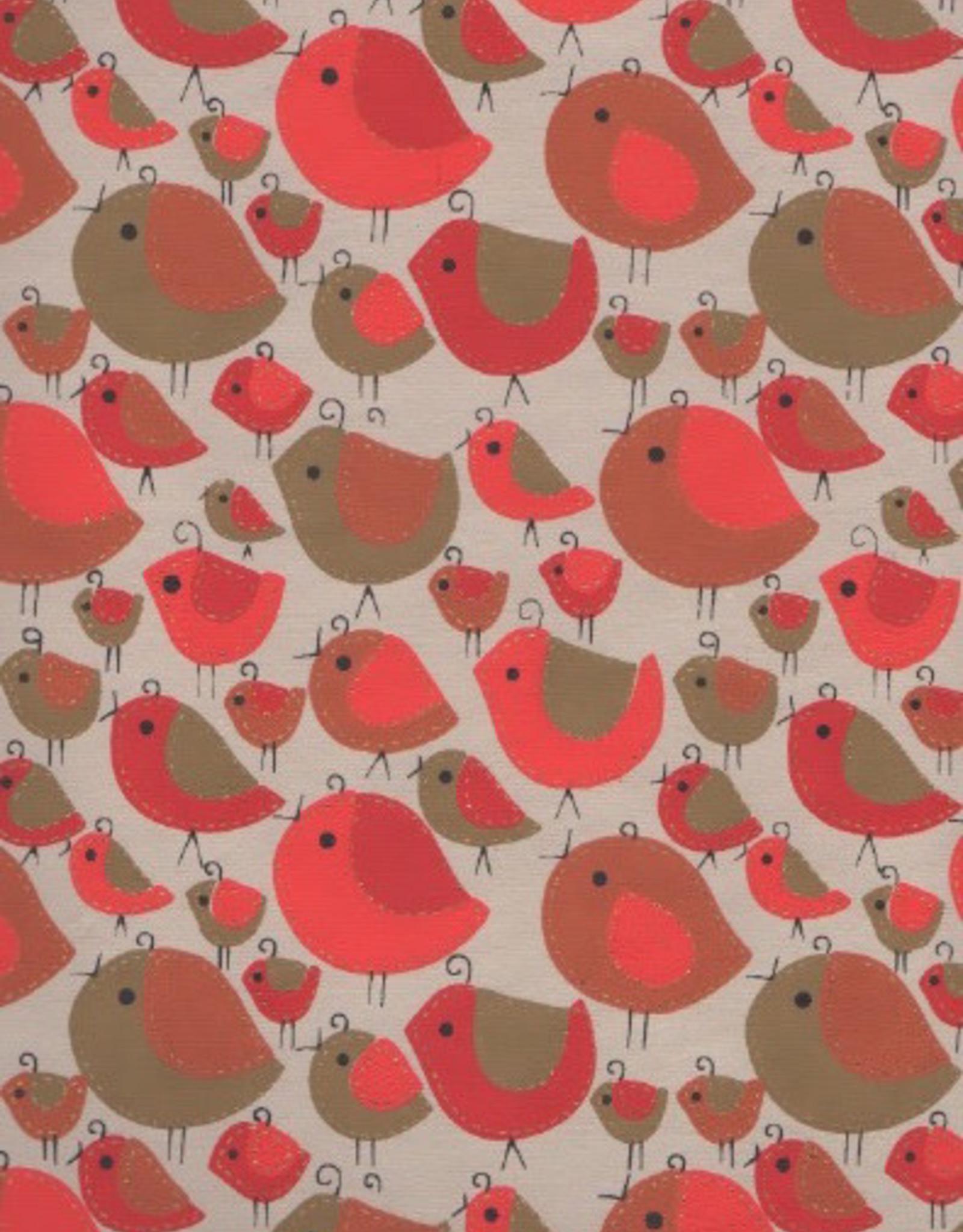 "Sewn Birds Red, Orange, Gold on Natural, 22"" x 30"""