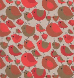 """India Sewn Birds Red, Orange, Gold on Natural, 22"""" x 30"""""""