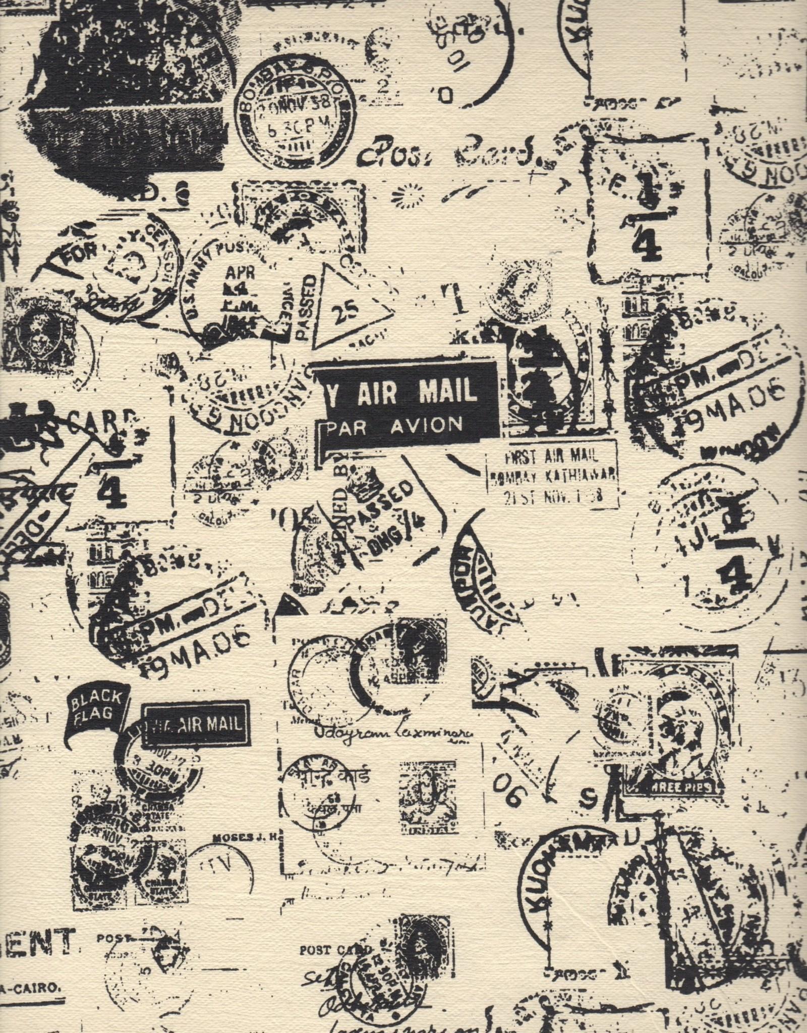 """Postal Stamp, Black on Natural, 20"""" x 28"""", 50gsm"""