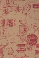 "Postal Stamp, Red on Kraft, 20"" x 28"", 50gsm"