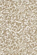 "Thai Elegance, Gold on White, 25"" x 37"""