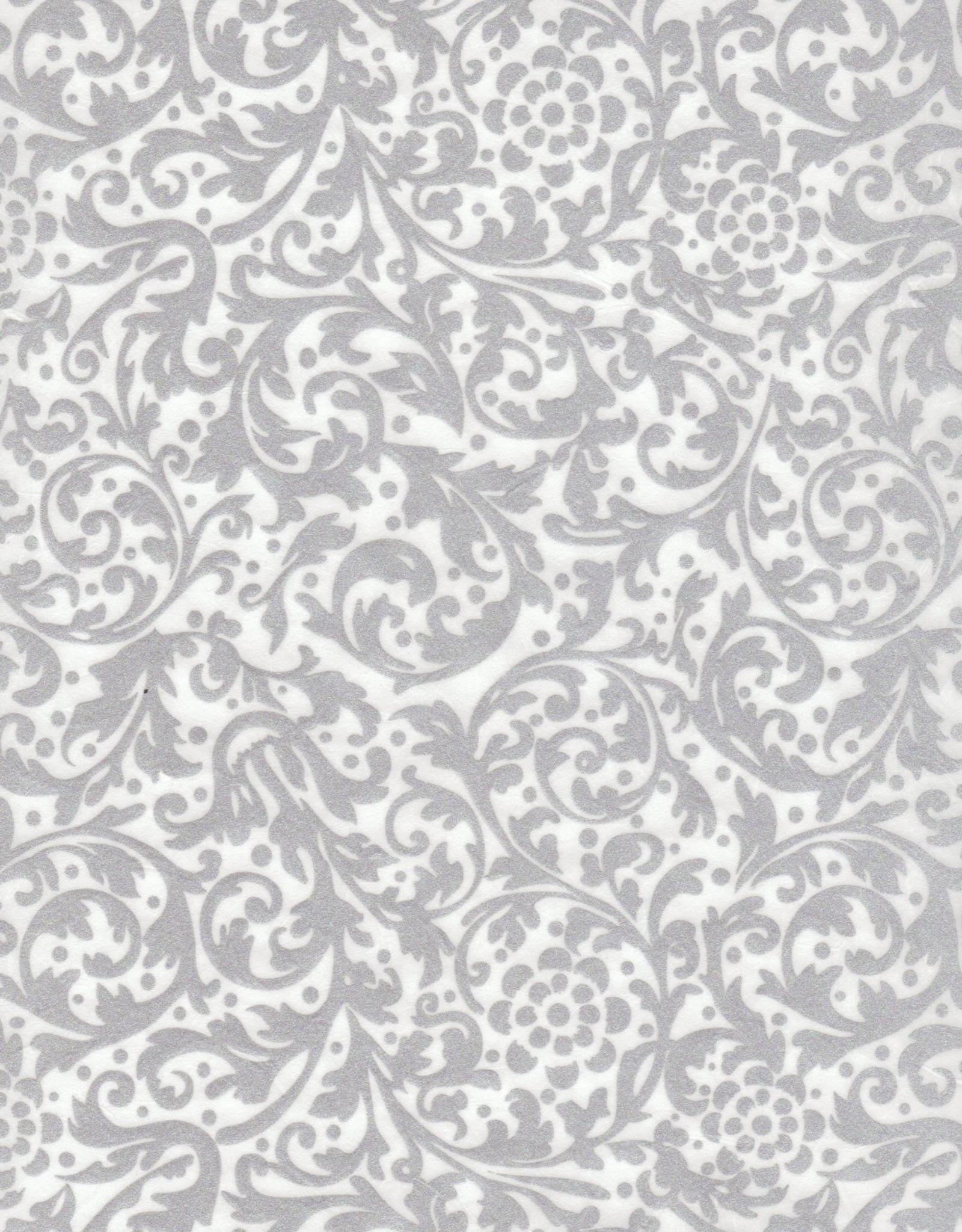 """Thai Elegance, Silver on White, 25"""" x 37"""""""