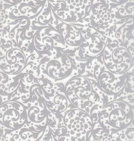 "Thailand Thai Elegance, Silver on White, 25"" x 37"""